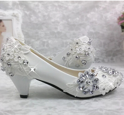 100% real photos handmade wedding shoes white lace silver stone ornament med heel woman bridal shoes bridesmaid shoes TG287 NEW