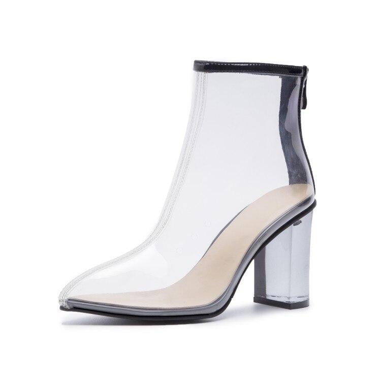 Botas Black Tacón Grueso white Señaló Alto Pvc Nueva Primavera Con Damas Moda Transparente Material Tobillo De Zapatos wZ1IxRnzq7