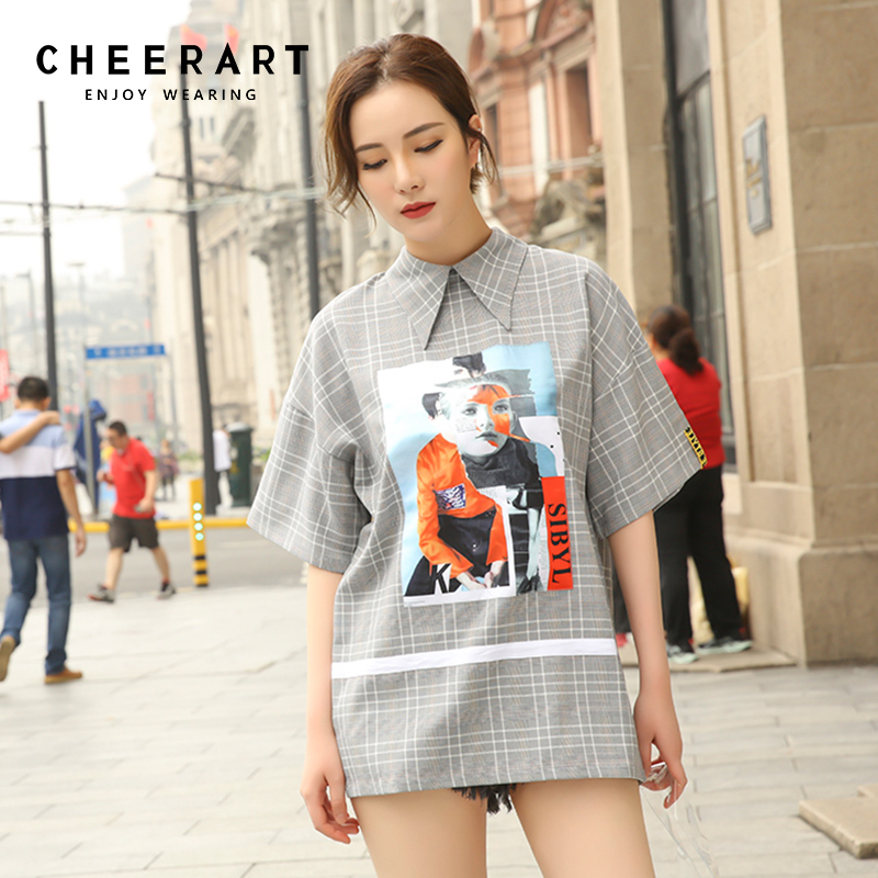 Cheerart Plaid Summer Open Back Top And Blouses Women Vintage Graphic Print Long Blouse Femme Clothes