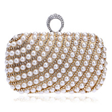 New Women's Diamond Ring Buckle Clutch Exquisite Pearl Diamond Stitching Evening Bag Wedding Party Bridal Handbag Shoulder Bags