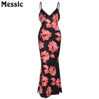 Messic Boho Floral Backless Womens Dresses 2017 Summer Fashion Elegant Femme V Neck Midi Bodycon Dress