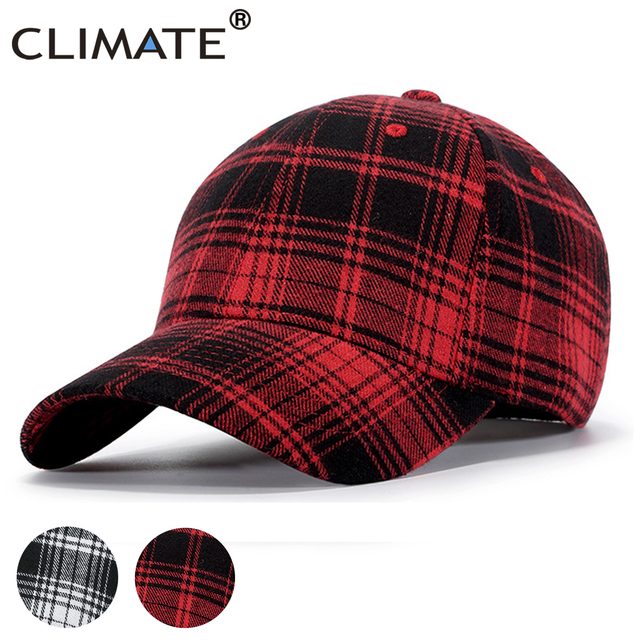 CLIMATE Men Plaid Baseball Cap Women Plaid Hat Cap Checks Fashion Cotton No  Logo Hat Caps Classic Checks Cap Hat for Men Women 4b99e53fd53