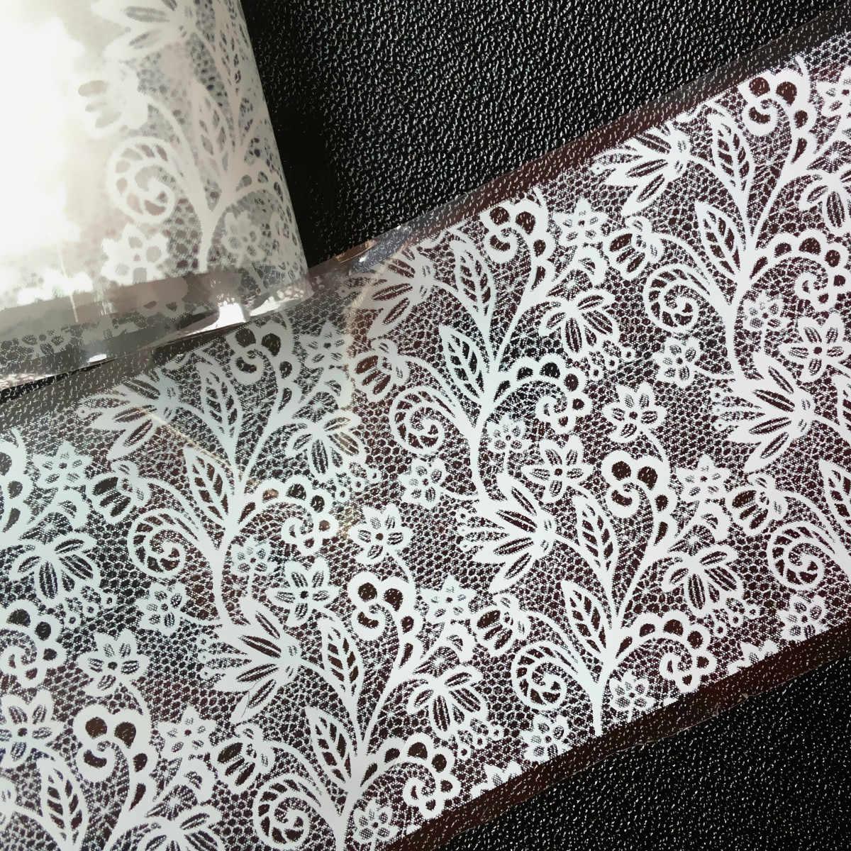 Seksi Putih Renda Grid Kuku Foil Tips Besar Bunga Kuku Transfer Stiker DIY Seni Menghias Kuku Lem Bahasa Polandia Aksesoris SK046