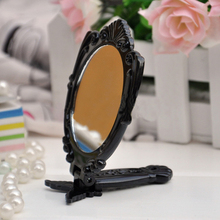 Blue ZOONew Classic Fashion Black Butterfly Foldable Handle Cosmetic Mirrors Round Shaped Makeup Mirror недорого
