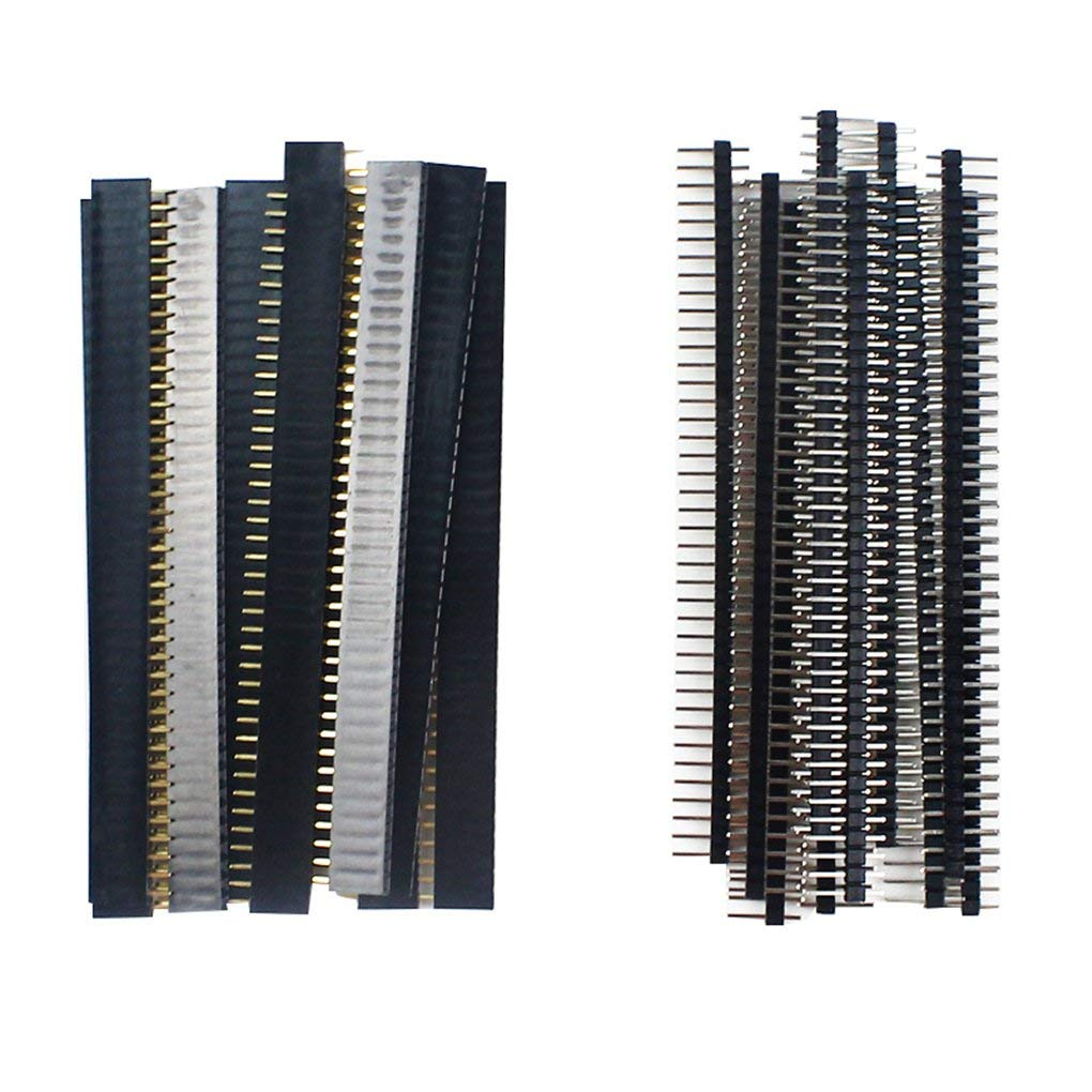 20pcs 10 pairs 40 Pin 1x40 Single Row Male and Female 2.54 Breakable Pin Header PCB JST Connector Strip for Arduino Black пзбф блокнот корпоративный 40 листов цвет зеленый формат a5