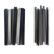 20 Uds unids. 10 pares 40 Pin 1x40 fila única macho y hembra 2,54 Pin Breakable Header PCB JST conector tira para Arduino negro(China)