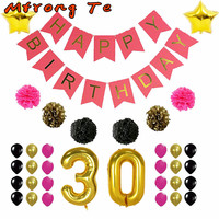 Large 40 Inch 30 Birthday Party Anniversary Balloons Decoration Adults Aged 30th Happy Birthday Party Decoration
