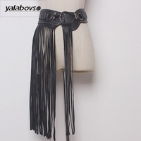 Yalabovso 2017 New Fashion PU materials Elastic Wide waist Punk Hip hop styles Belt for woman with tassel and Metal Y002 Z20