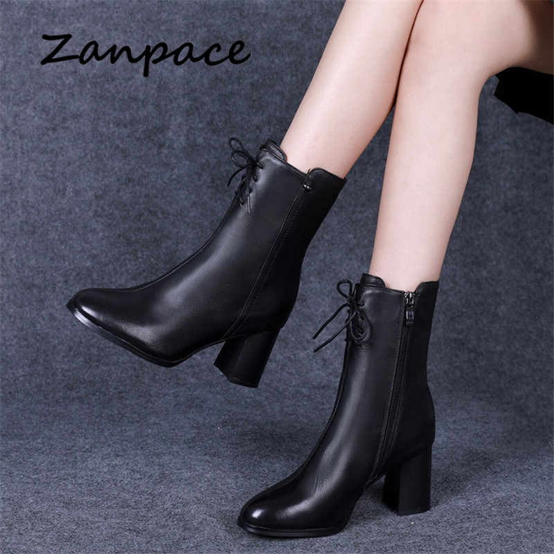 New Leather Women Boots 2019 Spring Autumn Shoes Side Zipper Black Martin Women Ankle Boots High Heel Shoes Size 35-42