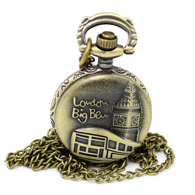 Promotion Bronze London Big Ben Design Quartz Fob Pocket Watch With Necklace Chain Free Drop Shipping