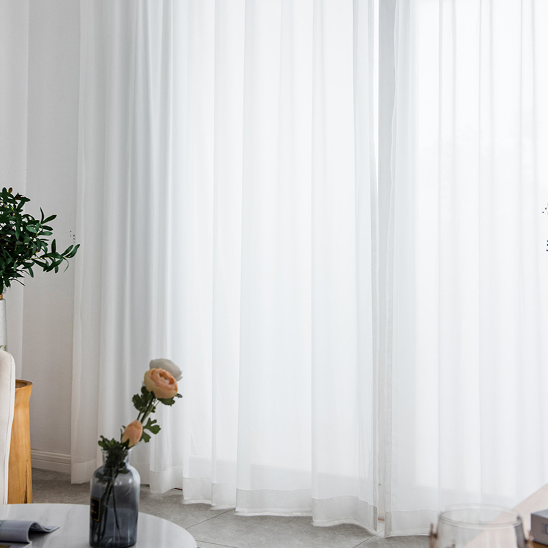 Modern High Precision Tulle Curtains For Living Room Chiffon White Sheer Simple Soft Silk Curtain Window Screens Balcony Yarn