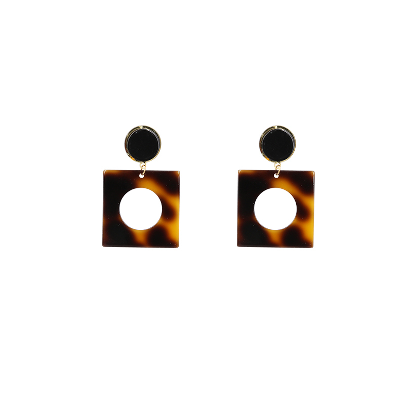 Earrings For Women Brincos Pendientes Boucle Doreille Light Gold Color Brown Turtle Shell Finish Drop Long Earring Acrylic