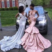 Платья для выпускного вечера с блестками розового и золотистого цвета в стиле Русалочки для девочек, с v-образным вырезом, на бретельках, большие размеры, Длинные вечерние платья в африканском стиле