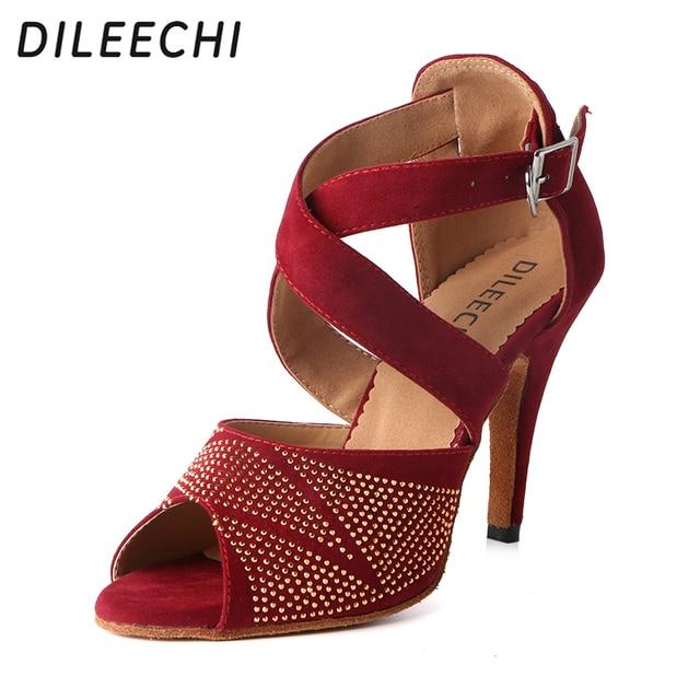 b04dc052a DILEECHI red flock Latin dance shoes woman Rhinestone Ballroom dancing shoes  Tango party shoes HIGH heel 10cm salsa soft sole