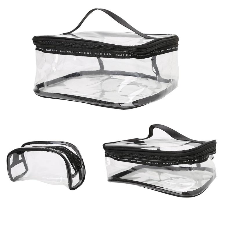 THINKTHENDO Clear Transparent PVC Travel Cosmetic Makeup Toiletry Wash Bag Pouch Zipper Bag Handbags New Women Bags S/M/L