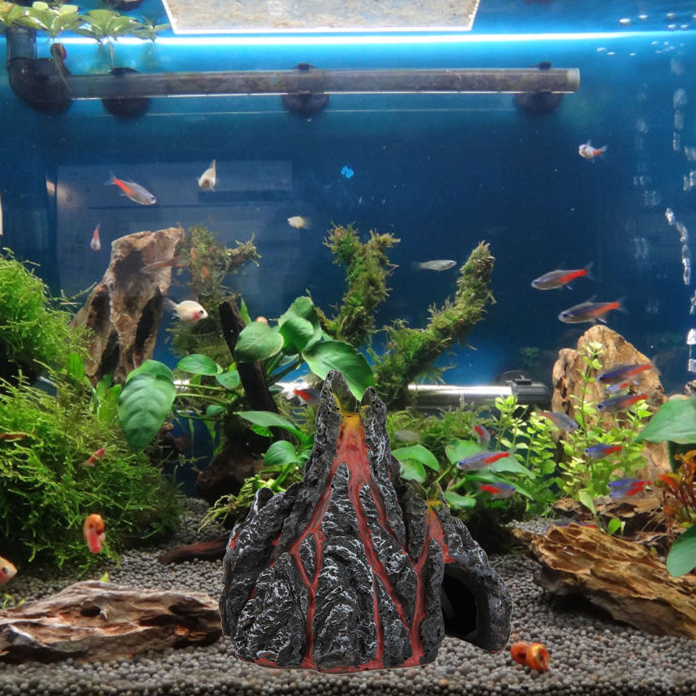 Fish tank in spanish - Volcano Shape Aquarium Fish Tank Decor Oxygen Pump Air Bubble Stone Resin Fish Tank Toy Aquarium