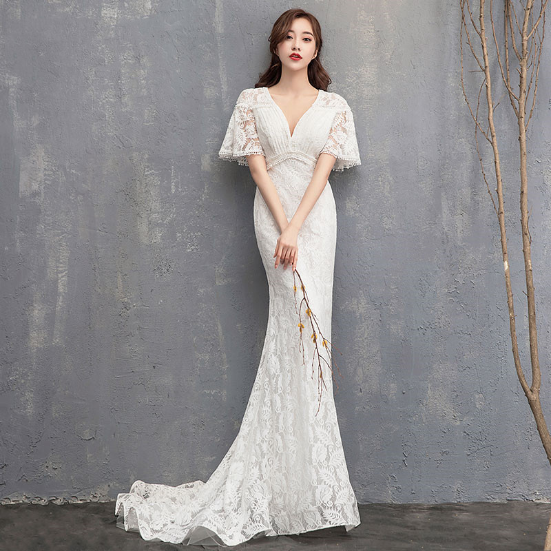 Simple Wedding Dress 2019 Elegent Lace Bridal Gown Flare Sleeve Sheath Formal Dress Satin Bridal Gown