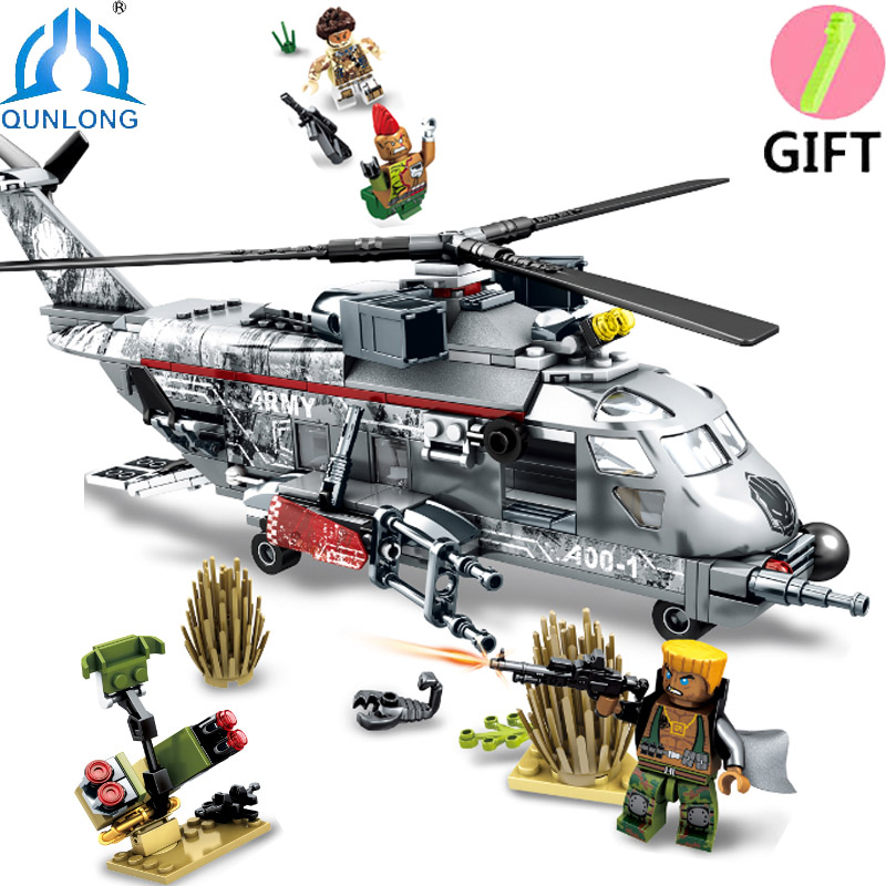 Qunlong Military series SWAT Special Forces Helicopters Figures Building Blocks Compatible Legoe Star Wars soldiers Boy Toys qunlong toys military swat team command