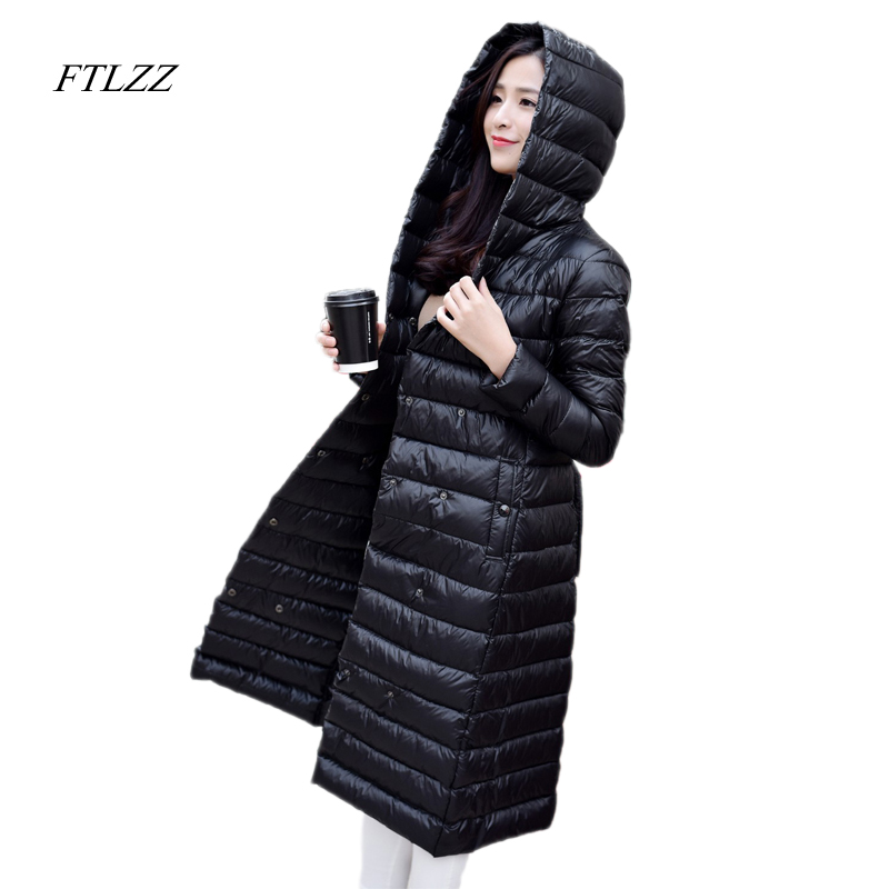 FTLZZ New Duck Down Jacket Female Extra Long Warm Coat Women Double Breasted Extra Light Parkas