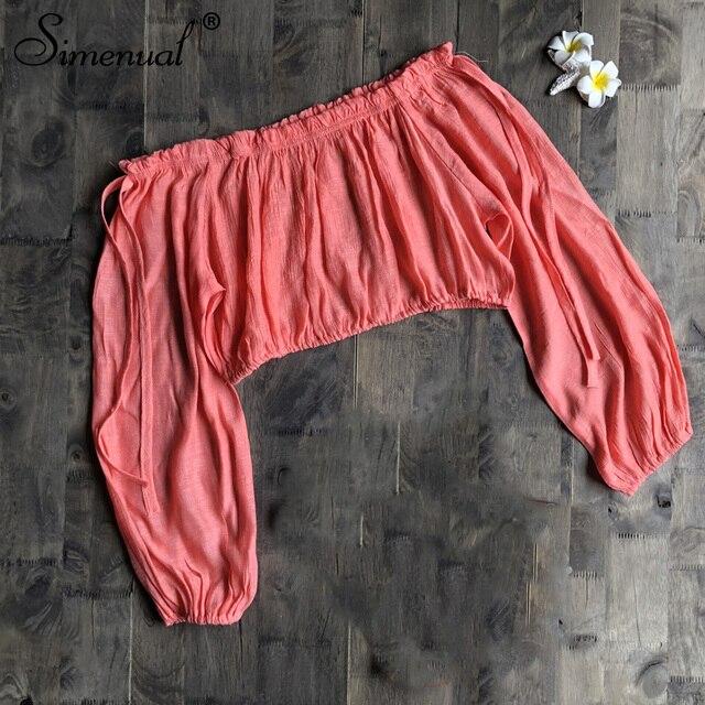 Simenual מכתף חוף כיסוי למעלה חולצות נשים ארוך שרוול Pareos חולצות מוצק סקסי ראפלס חולצה חולצת קיץ 2019 אופנה