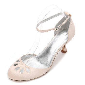 Creativesugar rounded toe ankle strap satin evening dress shoes with hollow out cocktail wedding party lady pumps white ivory