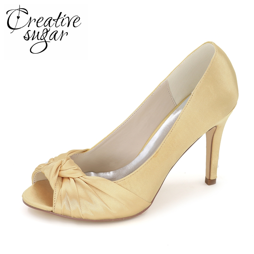 Creativesugar elegant satin evening dress shoes with knot for Gold dress shoes for wedding