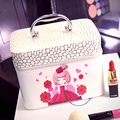 Women Professional Large Capacity Makeup Organizer Cosmetic Box Portable Pretty Lovely Storage Bag Suitcase Cartoon Bolso Mujer