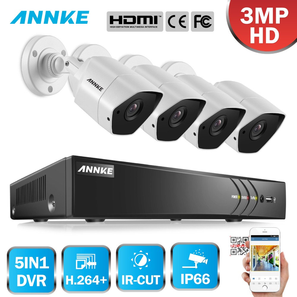 ANNKE 8CH 3MP HD Security Camera System 5 in 1 CCTV DVR Kit IP66 CCTV Camera System Cameras Video Surveillance Kit Home Security цена