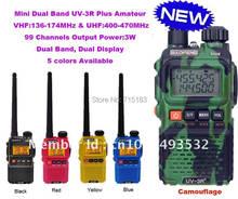 Baofeng mini bolso uv 3r plus, banda dupla, rádio de duas vias, baofeng UV-3R + plus 99 canais vhf e uhf walkie talkie frete grátis
