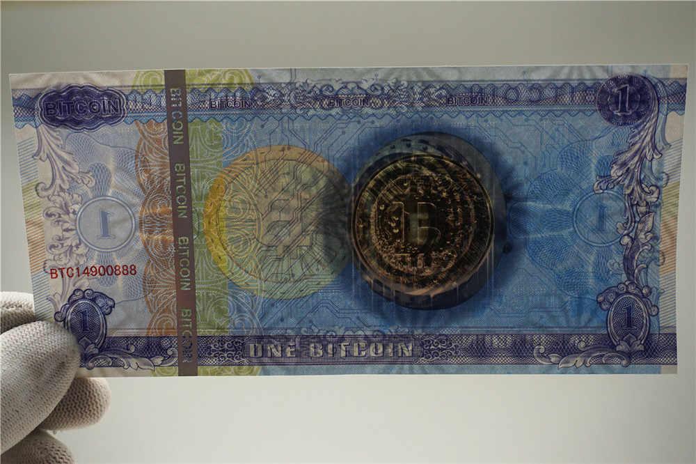 Een Bitcoin Geld Niet Valuta Papier Goud Bankbiljetten Anti-Fake 1 Btc Rekeningen Collectibles Goud Bankbiljetten