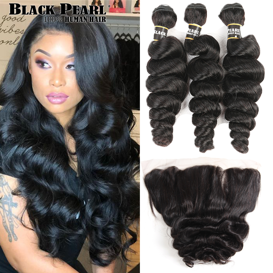 Black Pearl Pre Colored Brazilian Loose Wave Lace Frontal Closure with Bundles Non Remy 3 Bundles