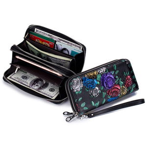 Image 2 - Genuine Leather Large Capacity Double Zipper Pockets Women Floral Long Wallet Credit Card Holder Ladies Purse Rose Flower Clutch