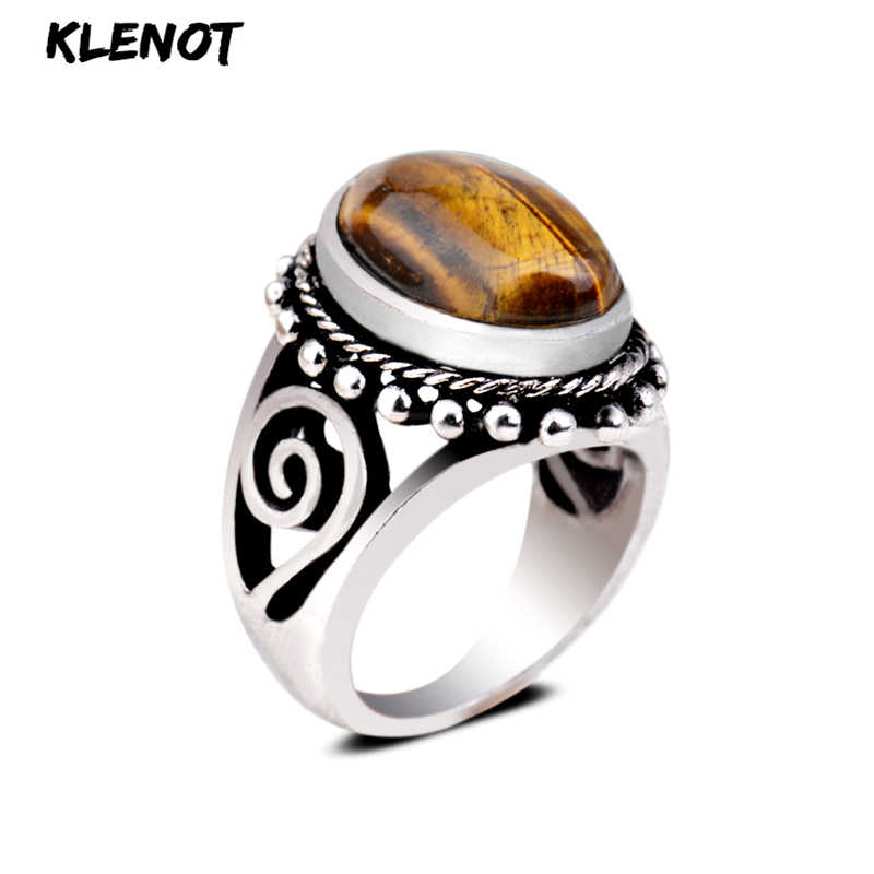 New Tiger eye Antique Silver Ring Vintage Oval Amethyst Lapis lazul Stone setting Fox Tail Pattern Women Men Finger Rings