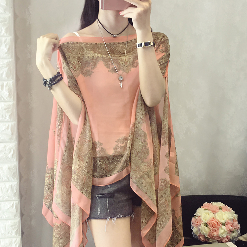 5eb905de1f Detail Feedback Questions about Women Blouses Summer Top Slash Neck  Irregular Hollow Out Casual Chiffon Shirt Beachwear Cover up Loose Printing  Sun proof ...