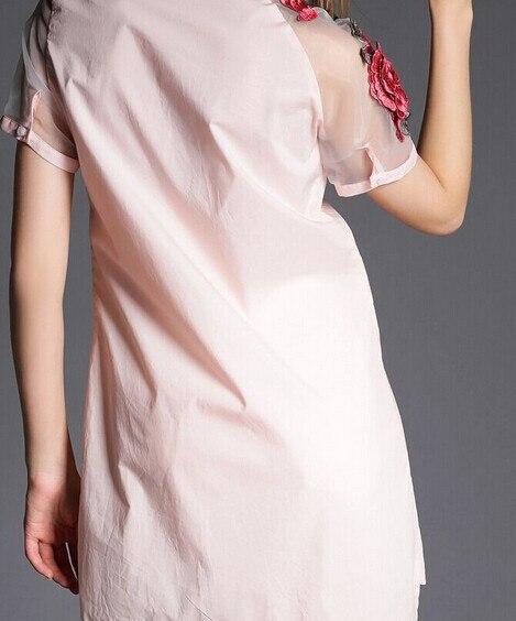 1 шт./лот Повседневное короткий рукав Длинная блузка вышитые цветок из органзы с длинная белая блузка 4 размера