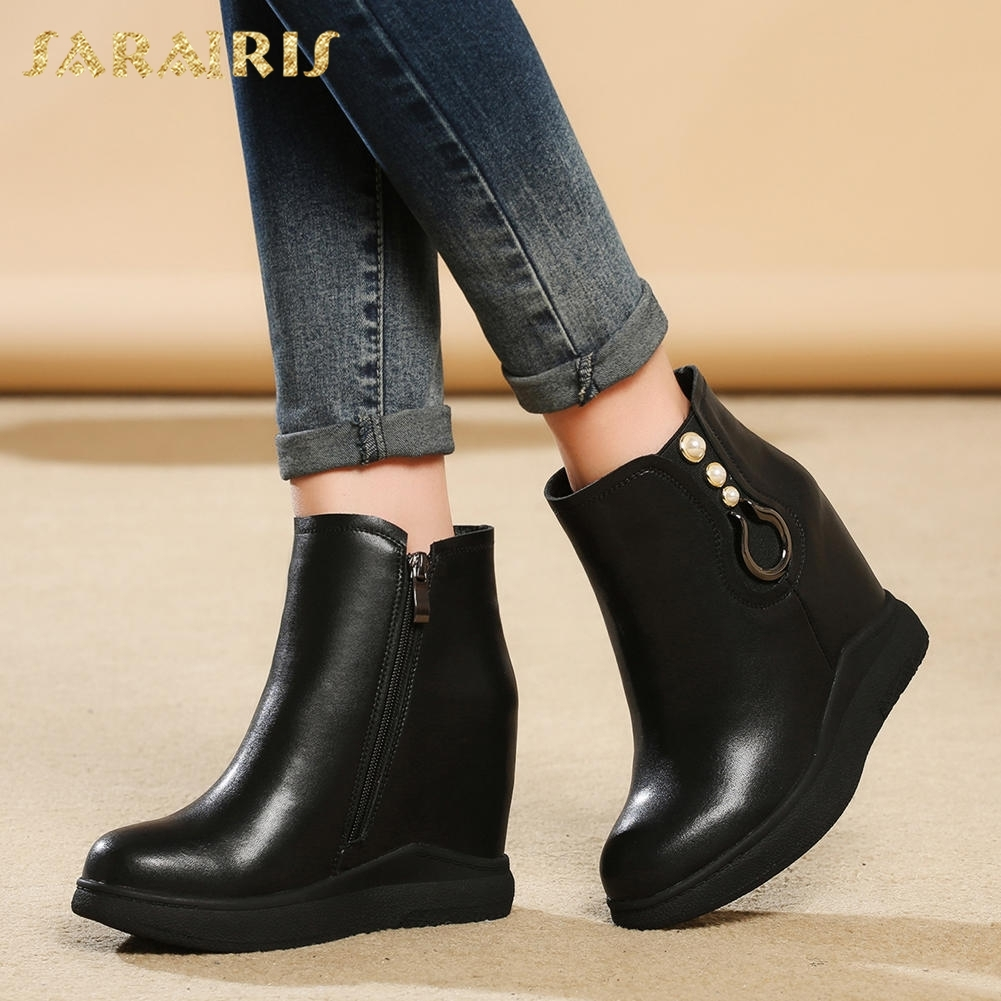 SARAIRIS NEW dropship Genuine Leather Zip Up Platform Ankle Boots Woman Shoes Add Fur Winter Boot Female Shoes Woman sarairis new plus size 32 43 sequin add fur winter boots woman new fashion dropship zip up ankle boots woman shoes woman