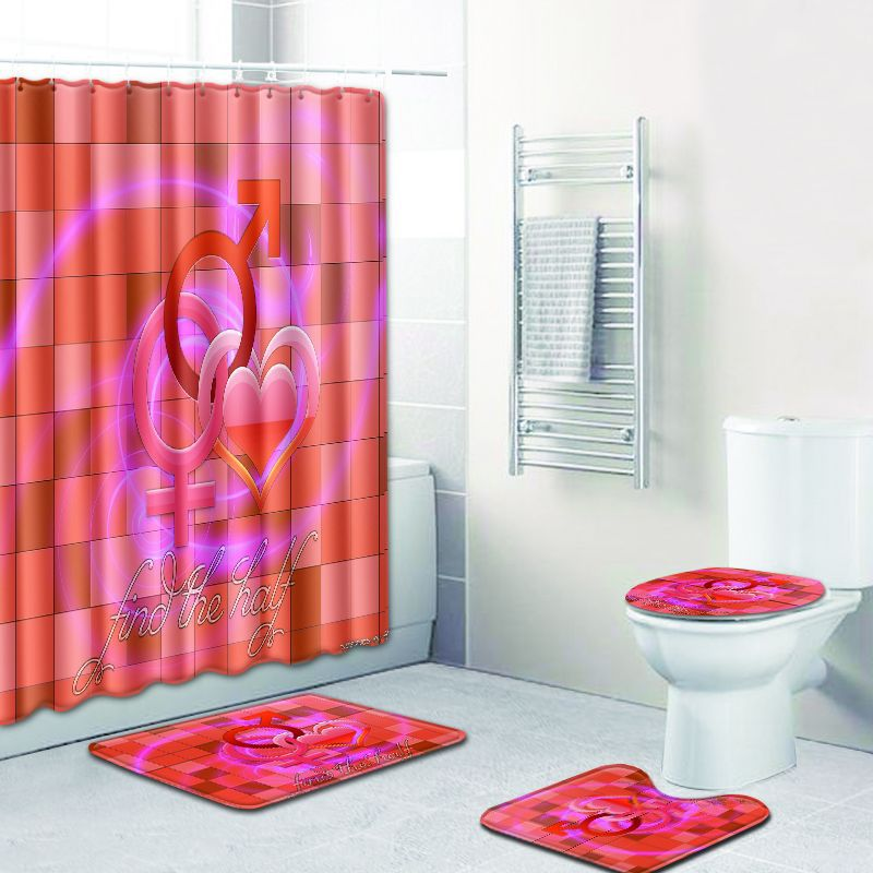 4 pièces/ensemble amour coeur impression rideau de douche tapis de bain couverture de toilette tapis de bain imperméable tissu Polyester écran de bain décor à la maison