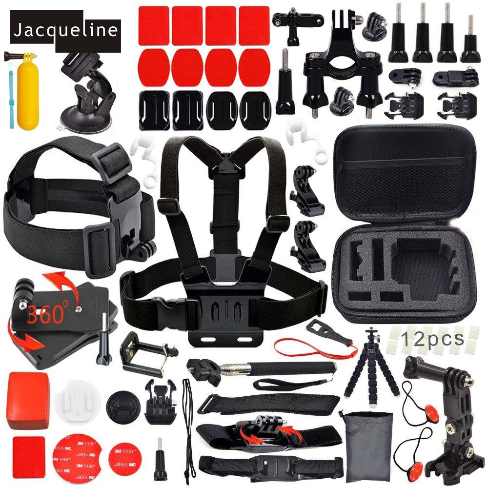 Jacqueline pour Nouvel Ensemble Accessoires Kit pour Gopro HD hero hero 5 4 3 + pour SJCAM sj4000 sj5000 sj6000 pour EKEN H9R H9 pour SOOCOO
