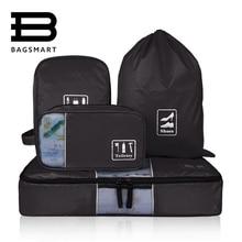 BAGSMART 4 Pcs Travel Mesh Bag For Clothes Shoes Electronics Toilitries Travel Luggage Suitace