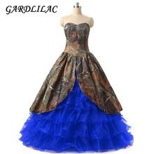 Camo Organza Ball Gown Wedding Dress Lace up Court Train Vestido de novia princess