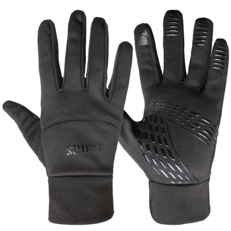 Sports Fleece Elastic Gloves For Men And Women Winter Running Full Finger Touch Screen Waterproof Non-slip Riding Ski