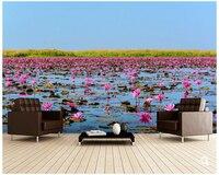 Custom natural landscape wallpaper,Sea of Pink Lotus,3D modern photo for living room bedroom kitchen waterproof wallpaper