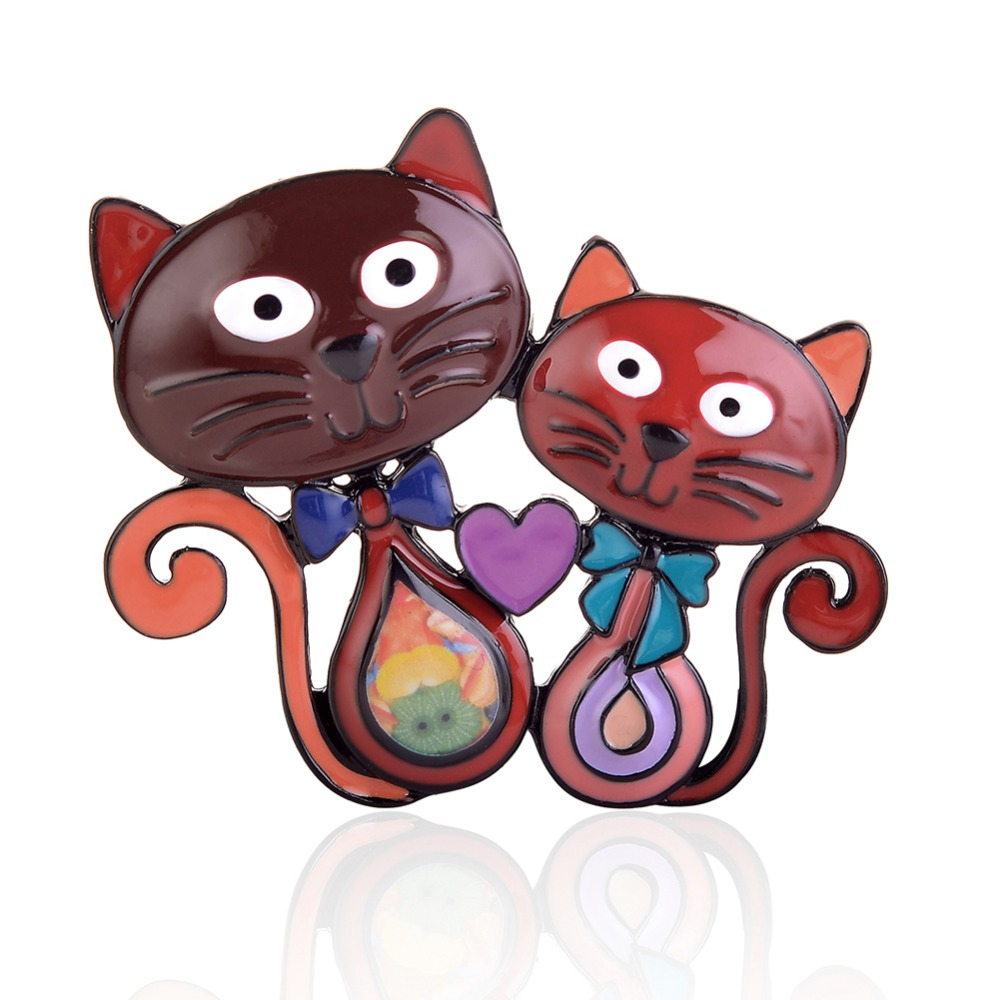 Cring CoCo New Cat Brooch for Women Cartoon Brooch Cute Cat Head Enamel Pin Jewelry Clothes Accessories Brooches For Wedding in Brooches from Jewelry Accessories