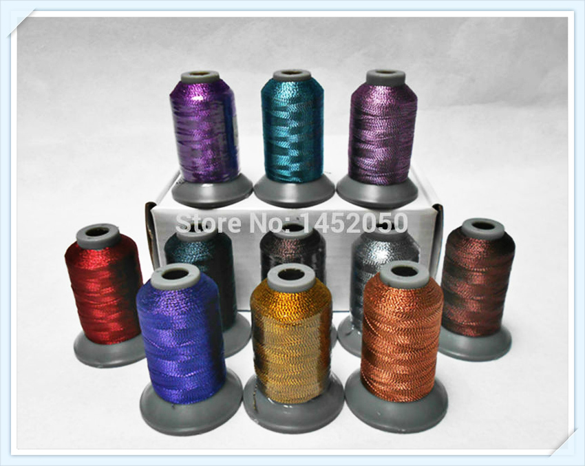 Assorted Colors High Luster Metallic Embroidery Knitting Machine Thread For Brother Singer Janome, 500m* 11, Free Shipping