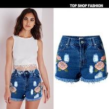 Women Summer Flower Embroidery Cotton Denim Shorts 2017 plus size casual female waist Jeans Shorts