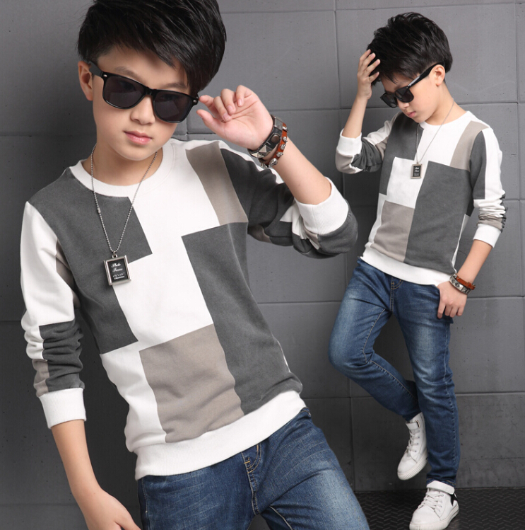 2016 autumn boys long sleeve plaid t shirts for children cotton polyester O Neck kids casual