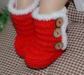 Hand-knitted baby thickened in autumn and winter plus velvet Christmas shoes toddler shoes baby shoes hot red booties