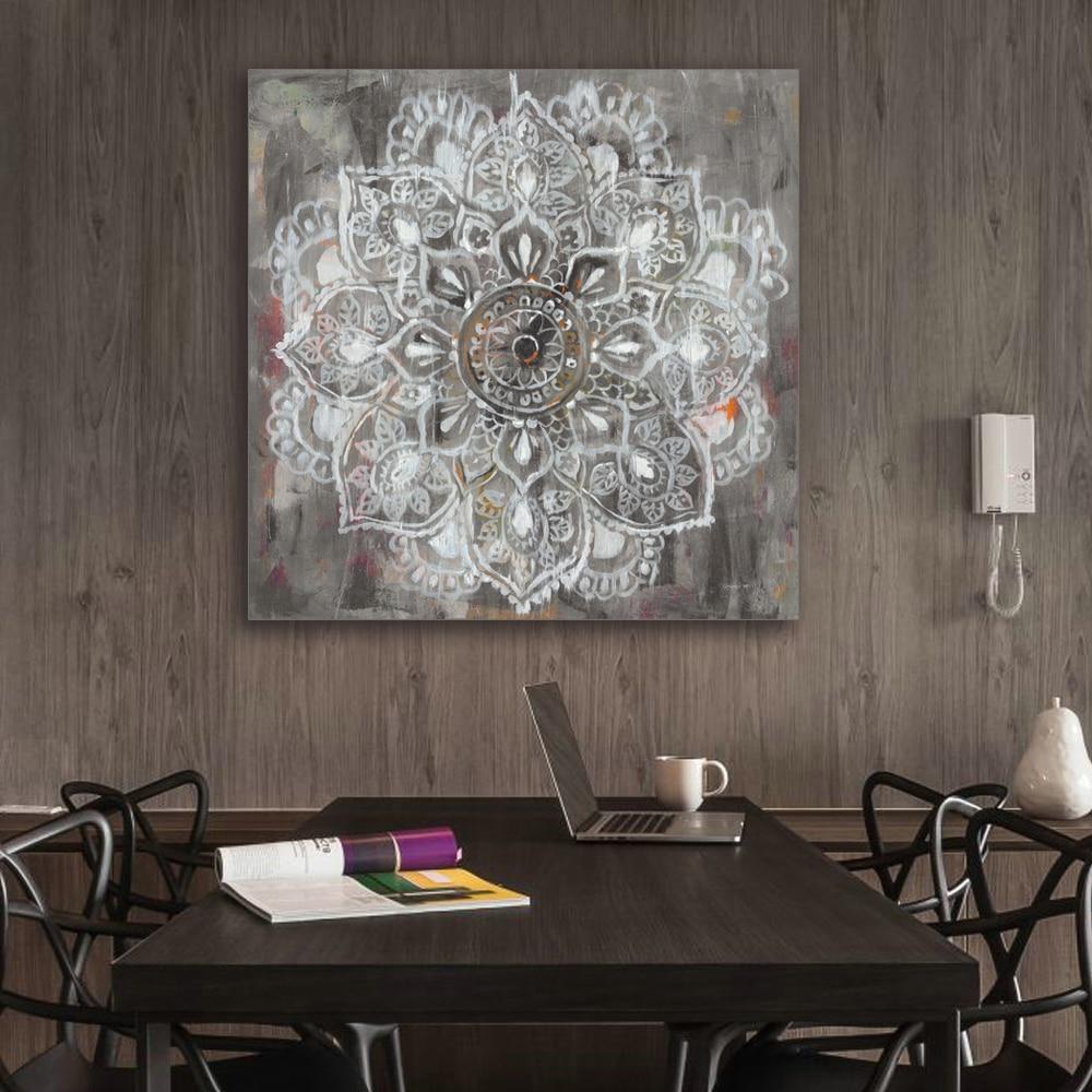 Wandbilder Wohnzimmer, Zen Mandala In Weiß Distressed Leinwand Malerei  Malerei Home Decor, Design Ideen