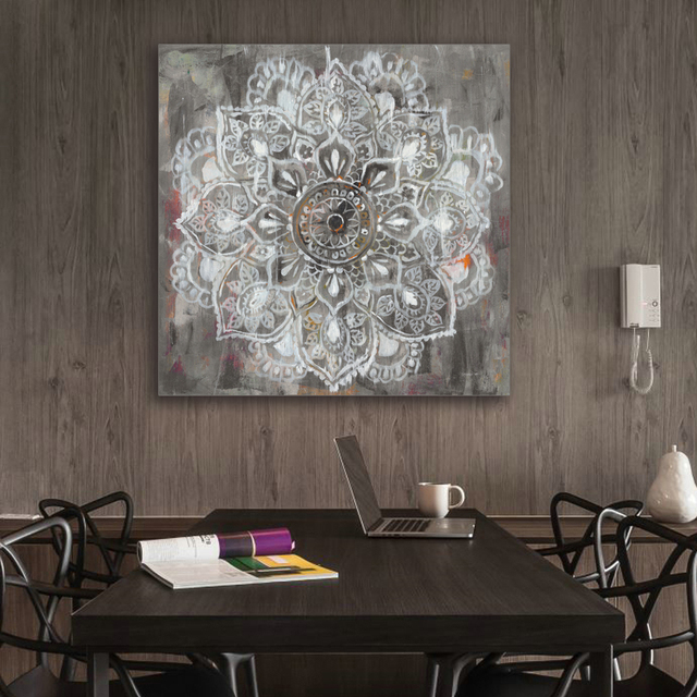 zen mandala in wei distressed leinwand malerei malerei home decor wandbilder wohnzimmer yoga. Black Bedroom Furniture Sets. Home Design Ideas