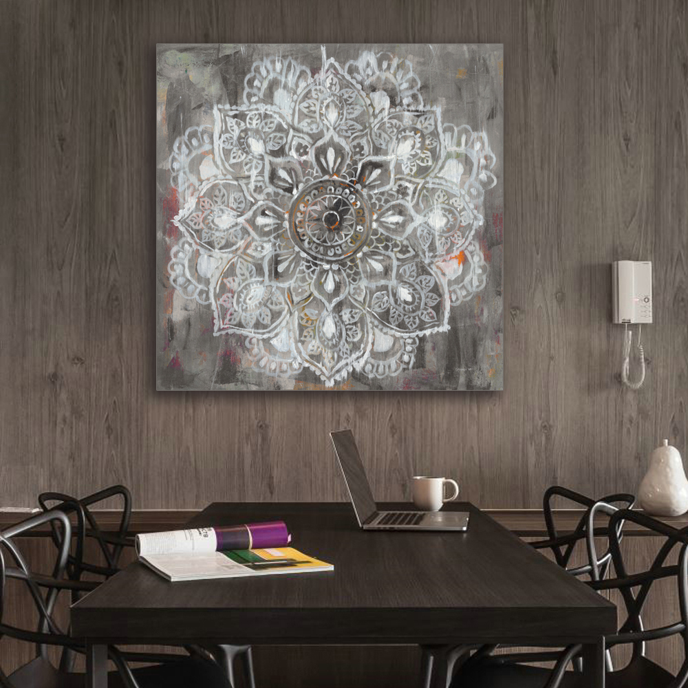 Zen Mandala In White Distressed Canvas Painting Painting Home Decor Wall Pictures Living Room